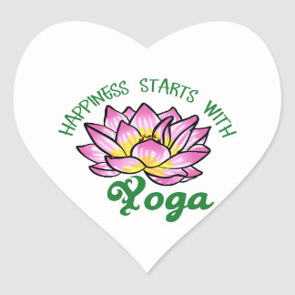 Happiness Starts With Yoga Heart Sticker