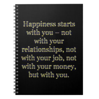 HAPPINESS STARTS WITH YOU NOT RELATIONSHIPS MONEY SPIRAL NOTE BOOK