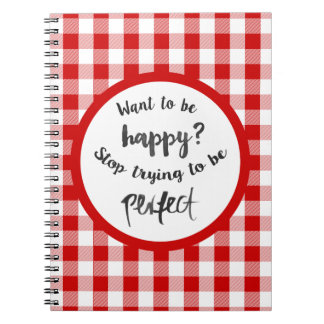 Happiness, Success, Life Attitude Red Gingham Notebook