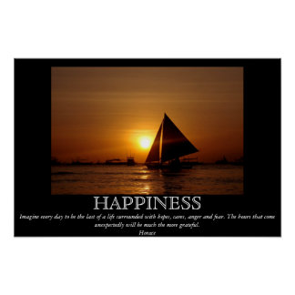 Happiness Sunset Sailboat Motivational Poster