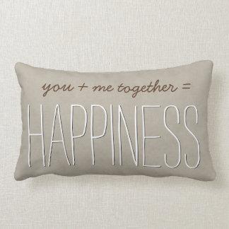 HAPPINESS Text Design TAN Custom Sentiment A02 Lumbar Pillow