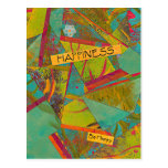 Happiness Triangles Colorful Collage post card