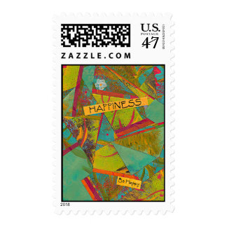 Happiness Triangles colorful collage postage stamp
