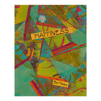 Happiness Triangles Colorful Collage Print