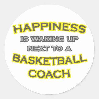 Happiness .. Waking Up .. Basketball Coach Classic Round Sticker