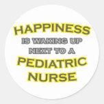 Happiness .. Waking Up .. Pediatric Nurse Round Stickers