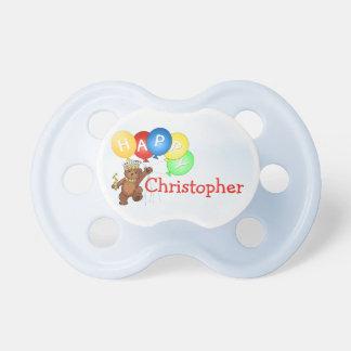 Happpy Teddy Bear Custom Name Baby Pacifier