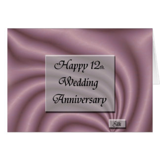 Wedding Gifts 12 Year Anniversary : Happy12th. Wedding Anniversary Card