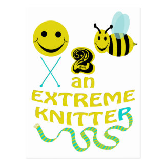 happy2bee an extreme knitter postcard