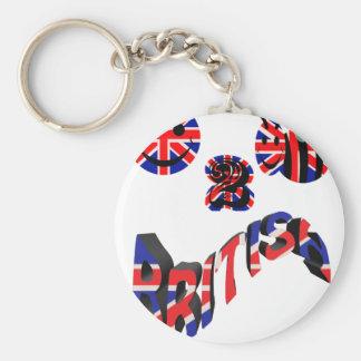 happy2bee british basic round button keychain