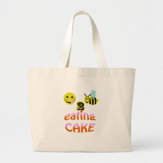 happy2bee eating cake large tote bag