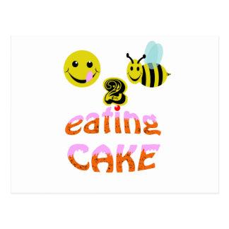 happy2bee eating cake postcard