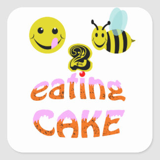 happy2bee eating cake square sticker