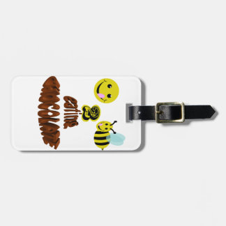 happy2bee eating chocolate bag tag