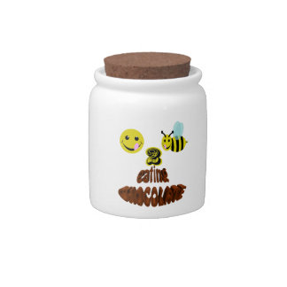 happy2bee eating chocolate candy dish