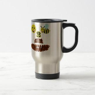 happy2bee eating chocolate travel mug