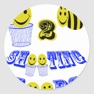happy2bee shooting hoops classic round sticker