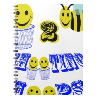 happy2bee shooting hoops spiral notebook