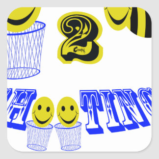 happy2bee shooting hoops square sticker