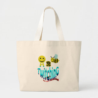 happy2bee twitching dont tell my bird large tote bag