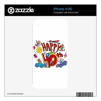 Happy40th Birthday Cartoon Skin For iPhone 4S