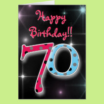 Happy 0th birthday fun & bright polka dot card