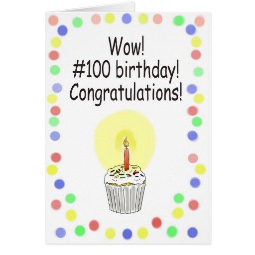Happy 100 Birthday Paper Greeting Card Unique