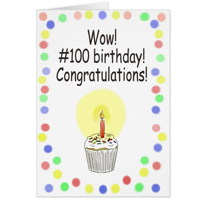 Happy 100 Birthday Paper Greeting Card Unique