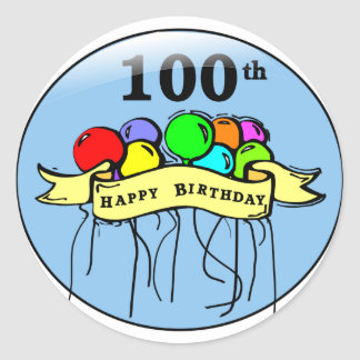 Happy 100th Birthday ballons Classic Round Sticker