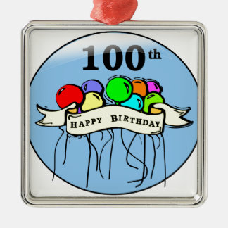 Happy 100th Birthday ballons Metal Ornament