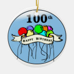 Happy 100th Birthday ballons Double-Sided Ceramic Round Christmas Ornament