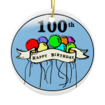Happy 100th Birthday ballons Christmas Tree Ornaments