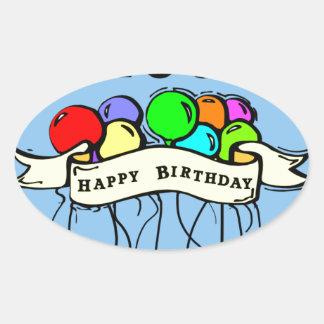 Happy 100th Birthday ballons Oval Sticker