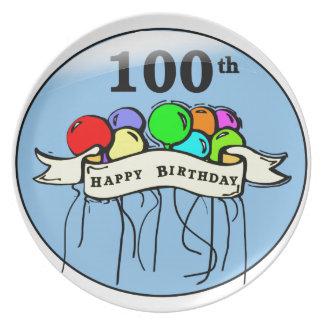 Happy 100th Birthday ballons Plate