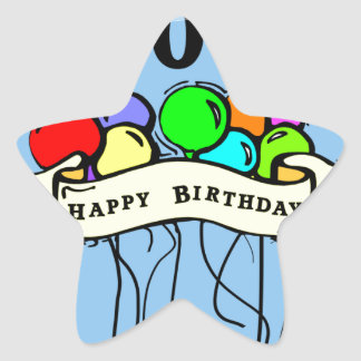 Happy 100th Birthday ballons Star Sticker