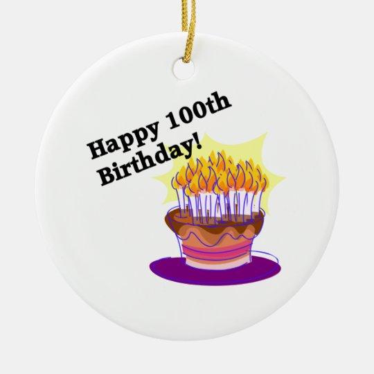 Happy 100th Birthday Ceramic Ornament