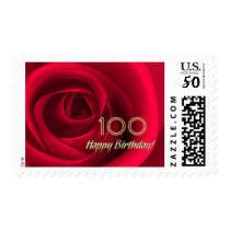 Happy 100th Birthday Customizable Postage Stamps