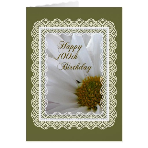 Happy 100th Birthday! Daisy in Lace Frame Card