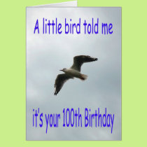 Happy 100th Birthday Flying Seagull bird Card