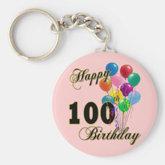Happy 100th Birthday Gifts and Birthday Apparel Keychain