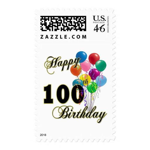 Happy 100th Birthday Gifts and Birthday Apparel Stamps