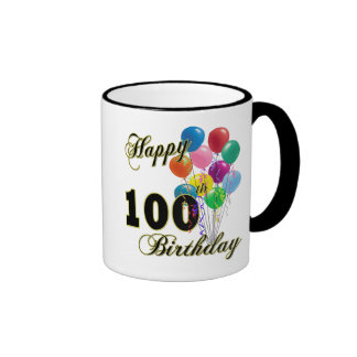 Happy 100th Birthday Gifts and Birthday Apparel Ringer Coffee Mug