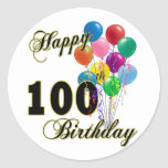 Happy 100th Birthday Gifts and Birthday Apparel Stickers