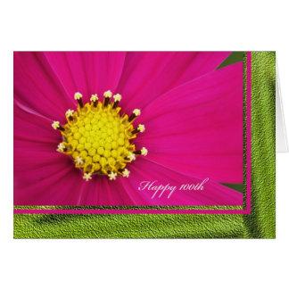 Happy 100th Birthday Greeting Card -- Pink Cosmos