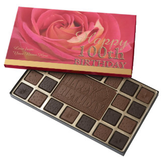 Happy 100th Birthday Rose Personalized Chocolate