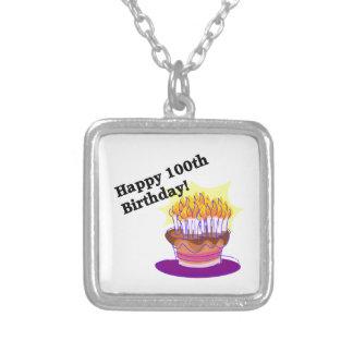 Happy 100th Birthday Square Pendant Necklace