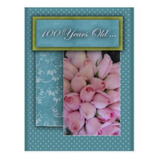 Happy 100th Birthday - with roses! Postcard