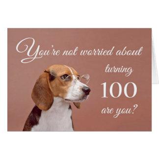 Happy 100th birthday, worried beagle card
