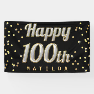 Happy 100th Bling Typography Gold Confetti Black Banner