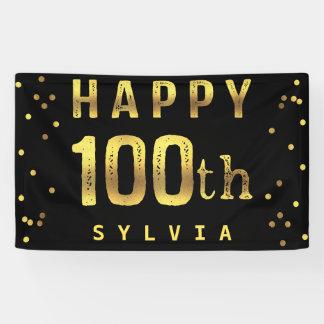 Happy 100th Faux Gold Foil Confetti Black Banner